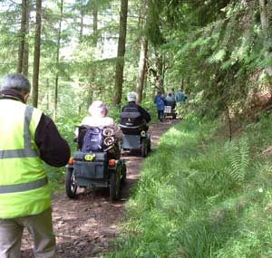 Disabled ramblers in Powys, picture courtesy of Brecon Beacons National Park