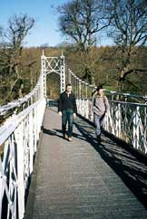 Walkers crossing Llanstephan Bridge, Powys